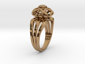 3-2 Enneper Curve Triple Ring (003) in Polished Brass