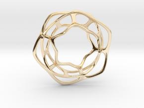 Hex Möbius, 32mm in 14k Gold Plated Brass