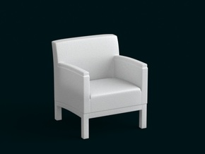 1:10 Scale Model - ArmChair 03 in White Natural Versatile Plastic
