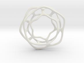 Hex Möbius, 48mm in White Natural Versatile Plastic
