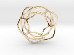 Hex Möbius, 48mm in 14k Gold Plated Brass