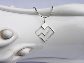 Tetromino Pendant - Diamond in Fine Detail Polished Silver