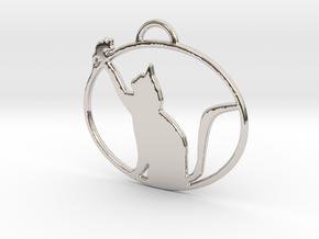 Friendly Cat Pendant in Rhodium Plated Brass