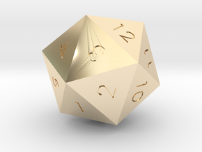 D20 Green Mana Symbol (MTG) in 14k Gold Plated Brass: Extra Small
