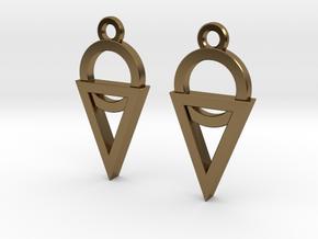 Dainty Geometric Earrings in Polished Bronze