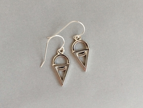 Dainty Geometric Earrings in Polished Silver