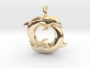 Piscean / Yin Yang Dolphin Totem Pendant 4.5cm in 14K Yellow Gold