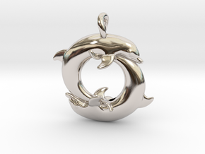 Piscean / Yin Yang Dolphin Totem Pendant 4.5cm in Rhodium Plated Brass