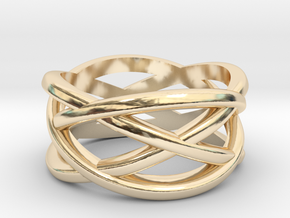 Cross Ring in 14k Gold Plated Brass: 5 / 49