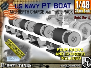 1/48 PT Boat Depth Charge w/ Rack Set001 in Smooth Fine Detail Plastic