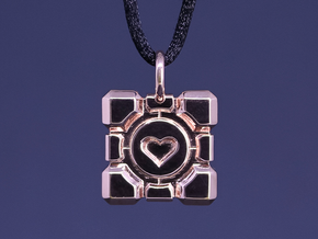 Portal Companion Cube Thin Pendant in 14k Rose Gold Plated