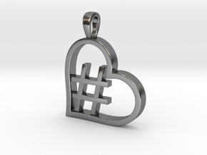 Alpha Heart 'Hashtag' in Fine Detail Polished Silver