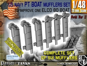 1/48 Elco PT Boat Mufflers Set001 in Smooth Fine Detail Plastic