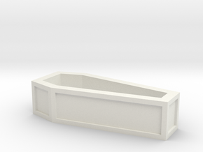 "1"" long coffin without lid in White Natural Versatile Plastic"