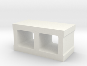 1/10 Concrete Block in White Natural Versatile Plastic