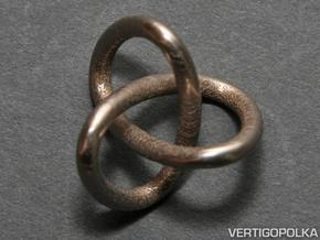 Classic Trefoil Knot 30mm in Polished Bronzed Silver Steel
