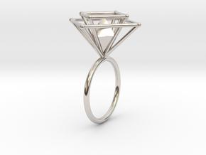 Crazy diamond size 52 in Rhodium Plated Brass