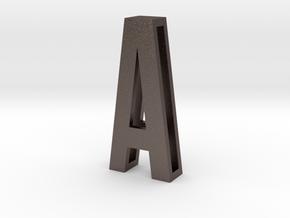 Choker Slide Letters (4cm) - Letter A in Polished Bronzed Silver Steel