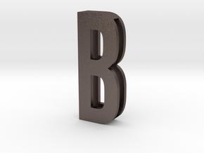 Choker Slide Letters (4cm) - Letter B in Polished Bronzed Silver Steel
