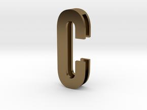 Choker Slide Letters (4cm) - Letter C in Polished Bronze