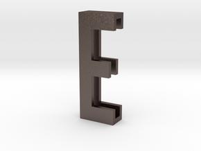 Choker Slide Letters (4cm) - Letter E in Polished Bronzed Silver Steel