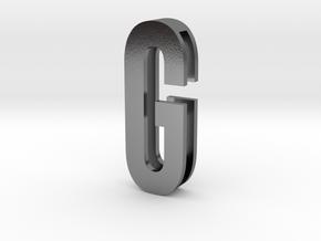 Choker Slide Letters (4cm) - Letter G in Polished Silver