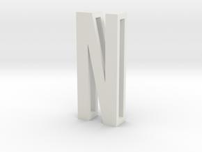 Choker Slide Letters (4cm) - Letter N in White Natural Versatile Plastic