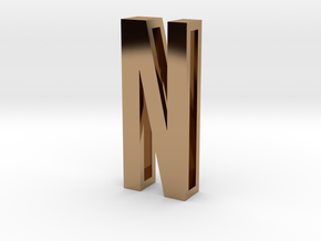 Choker Slide Letters (4cm) - Letter N in Polished Brass