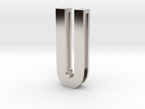 Choker Slide Letters (4cm) - Letter U in Rhodium Plated Brass