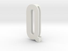 Choker Slide Letters (4cm) - Letter Q in White Natural Versatile Plastic