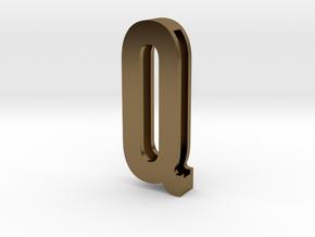 Choker Slide Letters (4cm) - Letter Q in Polished Bronze