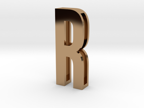 Choker Slide Letters (4cm) - Letter R in Polished Brass