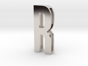 Choker Slide Letters (4cm) - Letter R in Rhodium Plated Brass