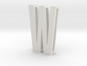 Choker Slide Letters (4cm) - Letter W in White Natural Versatile Plastic