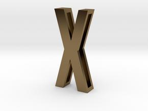 Choker Slide Letters (4cm) - Letter X in Polished Bronze