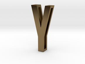 Choker Slide Letters (4cm) - Letter Y in Polished Bronze