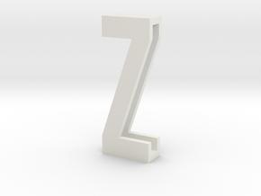 Choker Slide Letters (4cm) - Letter Z in White Natural Versatile Plastic