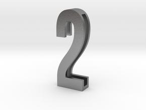 Choker Slide Letters (4cm) - Number 2 in Natural Silver