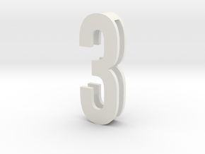 Choker Slide Letters (4cm) - Number 3 in White Natural Versatile Plastic