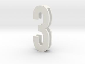 Choker Slide Letters (4cm) - Number 3 in White Strong & Flexible