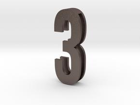 Choker Slide Letters (4cm) - Number 3 in Polished Bronzed Silver Steel