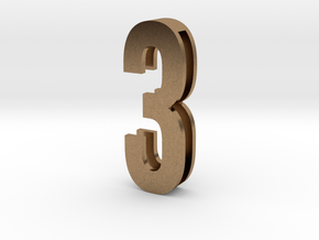 Choker Slide Letters (4cm) - Number 3 in Natural Brass