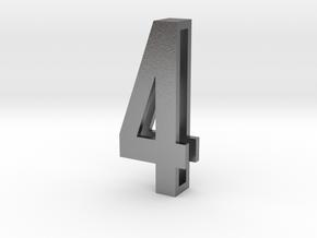 Choker Slide Letters (4cm) - Number 4 in Natural Silver