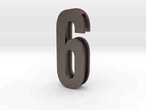 Choker Slide Letters (4cm) - Number 6 or Number 9 in Polished Bronzed Silver Steel