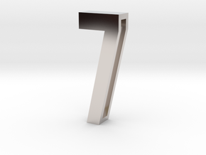 Choker Slide Letters (4cm) - Number 7 in Rhodium Plated Brass
