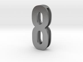Choker Slide Letters (4cm) -Number  8 in Natural Silver