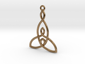 Mother and Two Children Knot Pendant in Natural Brass