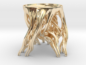 Tripod Julia bowl with smooth interior (thin) in 14k Gold Plated Brass: Medium