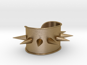 """Spiked Cuff - Bent (for wrists 2.25""""Wx1.5""""H) in Polished Gold Steel"""