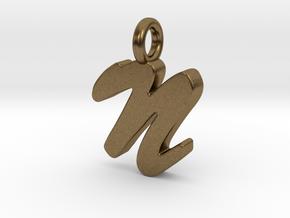 N - Pendant 2mm thk. in Natural Bronze